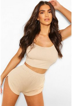 Stone Brushed Rib Cami & Short Set