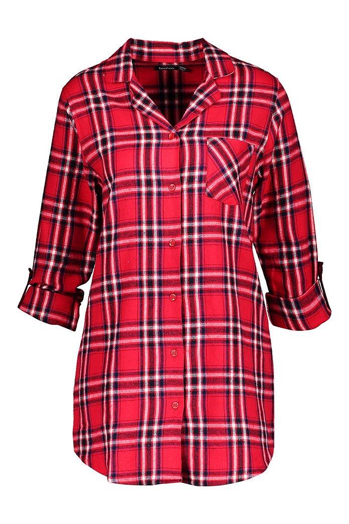 Flanell Mit Nachthemd Rot KariertesGebürstetes Durchgehender KnopfleisteBoohoo USpLGVqzM