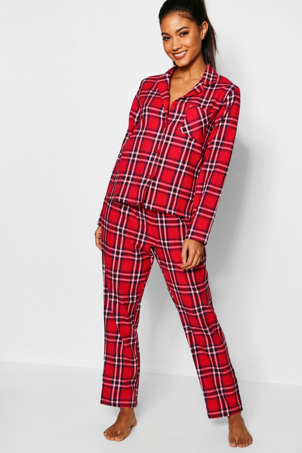 buy popular 3df16 1a170 Rot kariertes, gebürstetes Flanell Pyjama Set mit ...