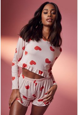 Pink Heart Print Frill PJ Short Set