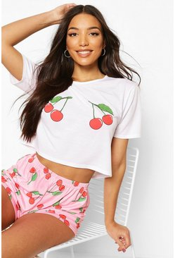 Pink Cherry Graphic Print Short PJ Set