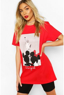 Red Disney Mickey & Minnie New York T-shirt