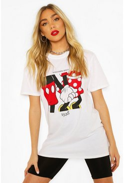 White Disney Minnie & Mickey 1928 Graphic T-shirt