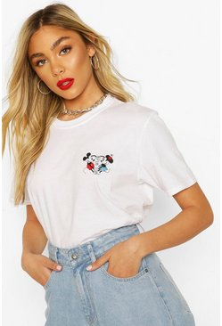 White Disney Mickey and Minnie Pocket Print T-shirt