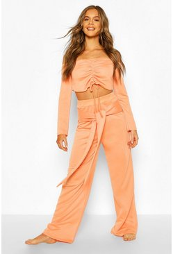 Coral Mix & Match Loopback Lounge Wide Leg Trouser