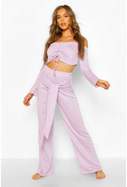 Lilac Mix & Match Loopback Lounge Wide Leg Trouser
