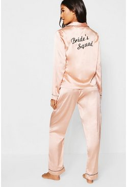 Womens Rose gold Brides Squad Satin Pants Set