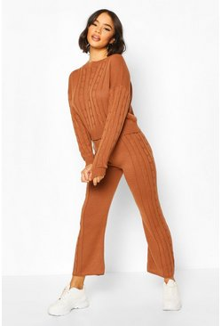 Camel Cable Knit Lounge Set