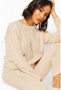Stone Cable Knit Lounge Set