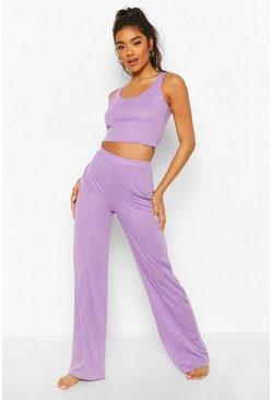 Lilac Crop Top and Wide Leg Pintuck Lounge Set
