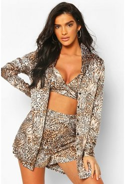Brown Satin Animal Bralet Robe & Short Set