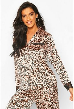 Brown Leopard Satin & Lace Mix & Match PJ Shirt