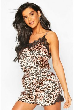 Brown Leopard Satin & Lace Mix & Match PJ Cami