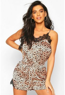 Brown Leopard Satin & Lace Mix & Match PJ Short