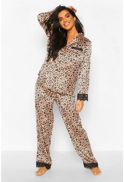 Brown Leopard Satin & Lace Mix & Match PJ Trouser