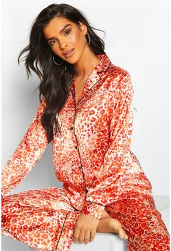 Red Ditsy Leopard Satin PJ Trouser Set