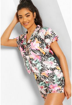 Multi Tropical Animal Satin PJ Shorts Set