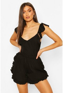 Black Frill Cami & Short PJ Set