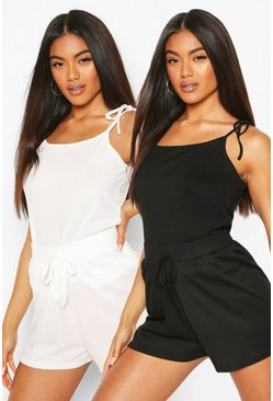 2 Pack Ribbed PJ Shorts, Black