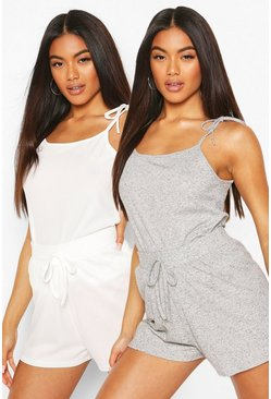 Grey 2 Pack Ribbed PJ Shorts
