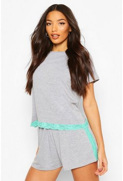 Mint Lace Trim PJ Short Set