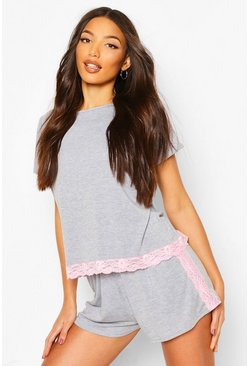 Pink Lace Trim PJ Short Set