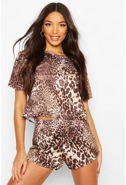 Leopard Crop PJ Short Set, Brown