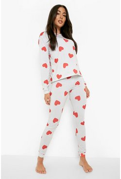 Cream Heart Print Cuffed Bottom PJ Set
