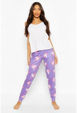 Purple Unicorn Print Legging and Ribbed Vest Set