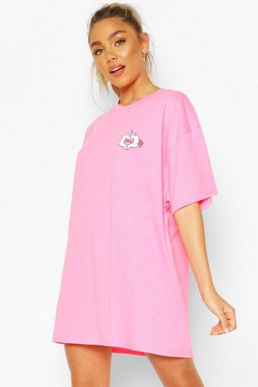Pink Disney Love Heart Hands Pockets Print Sleep Tee