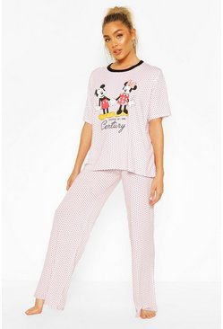 Cream Disney Mickey & Minnie Polka Dot PJ Trouser Set