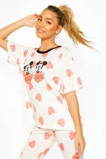 Cream Disney Mickey & Minnie Love Heart Legging PJ Set