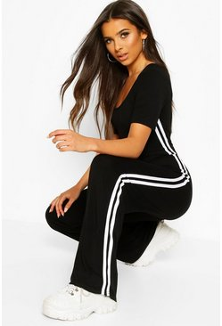 Black Double Side Stripe Short Sleeve Lounge Jumpsuit