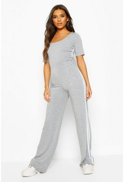 Grey Double Side Stripe Short Sleeve Lounge Jumpsuit