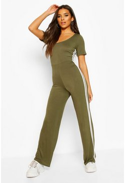 Khaki Double Side Stripe Short Sleeve Lounge Jumpsuit