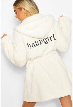 Cream Babygirl Embroidered Robe
