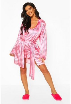 Pink Neon Candy Stripe Satin Robe