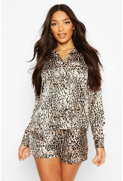 Brown Leopard Satin Long Sleeve Short PJ Set