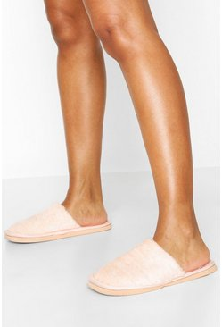 Blush Towelling Slippers