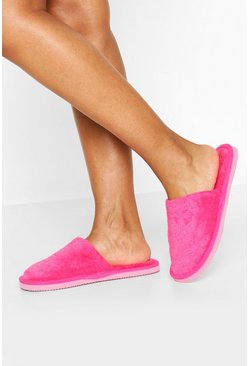 Hot pink Towelling Slippers