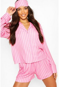 Pink Candy Stripe Jersey 5pc PJ Set