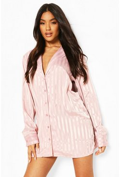 Pink Stripe Jacquard Satin Sleep Shirt