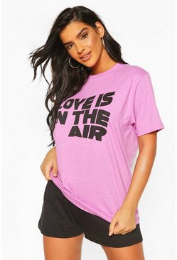 "Schlaf-T-Shirt mit ""Love Is In The Air""-Print, Flieder"