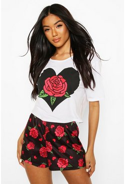 Black Valentines Rose Print PJ Shorts Set