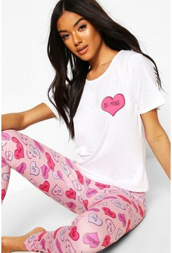 Pink Valentines Love Heart Tee & Leggings Set