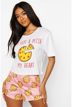 Pink Valentines Pizza My Heart PJ Shorts Set