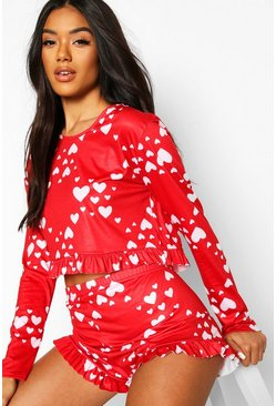 Red Valentines Heart Print Frill PJ Short Set