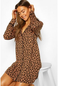 Leopard Jersey Night Shirt, Brown