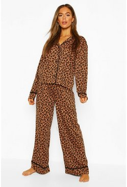 Brown Leopard Jersey PJ Set