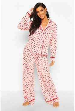 Heart Print Jersey PJ Set, Blush
